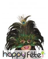 Loup vénitien vert avec plumes de paon pour adulte