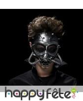 Masque à gaz futuriste effet métallique