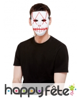 Masque blanc effet recousu lumineux pour adulte