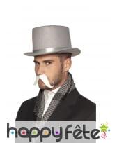 Moustache blanche guidon adhésive pour homme