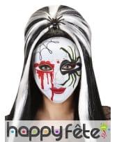 Masque blanc imprimé sang et araignée