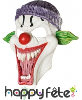 Masque clown blanc grande bouche monstrueuse