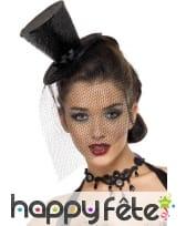 Mini chapeau haut de forme noir pailleté, image 1