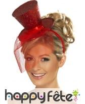 Mini chapeau haut de forme rouge pailleté, image 1