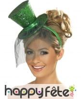 Mini chapeau haut de forme vert pailleté, image 1