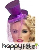 Mini chapeau haut de forme violet pailleté