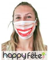 Masque cache nez sourire rouge à lèvre, adulte