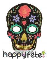 Masque crâne noir jour des morts en carton 19x28cm