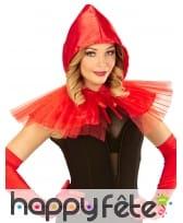 Mini cape rouge en tulle avec capuche
