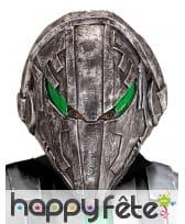 Masque d'alien robot aux yeux verts, intégral