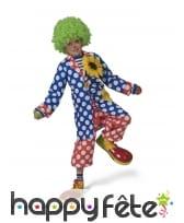 Manteau de clown bleu à pois blancs pour enfant