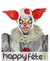 Masque de clown effrayant courts cheveux rouges