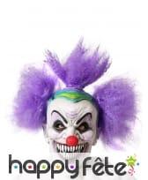 Masque de clown fou avec cheveux violet, adulte