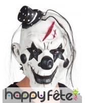 Masque de clown ténébreux avec mèches de cheveux