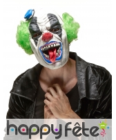 Masque de clown terrifiant cheveux verts