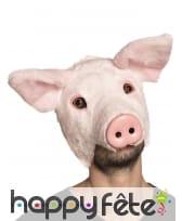 Masque de cochon avec pelage pour adulte
