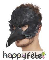 Masque de corbeau noir avec long bec pour adulte