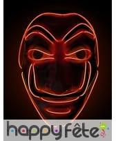 Masque de Dali lumineux en led rouge, adulte