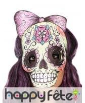Masque dia de los muertos avec noeud effet cuir