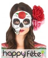 Masque Dia de los Muertos facial asymétrique