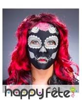 Masque Dia de los muertos noir pour femme, image 1