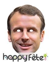 Masque de Emmanuel Macron en carton plat