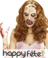 Masque de femme zombie avec perruque