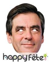 Masque de François Fillon en carton plat