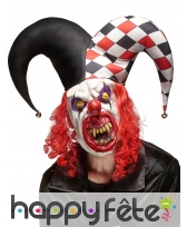 Masque d'horrible clown avec grand chapeau