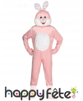 Mascotte de lapin rose pour adulte