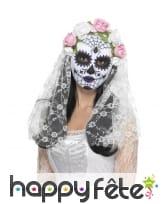 Masque de mariée jour des morts fleuri