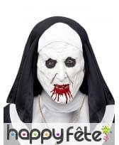 Masque de nonne zombie assoiffée de sang, adulte