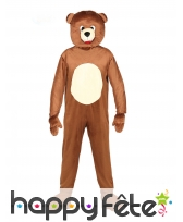 Mascotte d'ours brun pour adulte