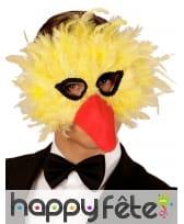 Masque d'oiseau jaune avec plumes