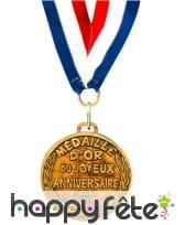 Médaille d'or Joyeux Anniversaire bleu blanc rouge