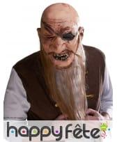 Masque de pirate chauve avec longue barbe