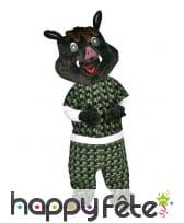 Mascotte de sanglier noire pour adulte