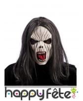Masque de spectre avec longs cheveux noirs, adulte