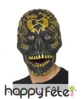 Masque de squelette jour des morts noir et doré