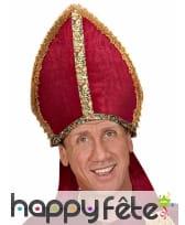 Mitre de Saint Nicolas aspect velours rouge adulte, image 1