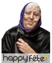 Masque de vieille dame avec foulard violet