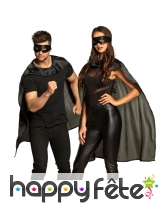 Masque et cape noir de super héros pour adulte, image 1