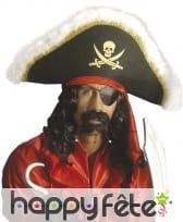 Moustache et double barbiche noire de pirate