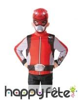 Masque et haut de Power Rangers rouge pour enfant
