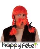 Moustache et perruque orange avec tresses, adulte