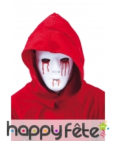 Masque facial blanc uni larmes de sang pour homme