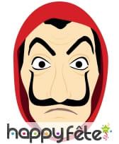 Masque facial de braqueur, dessin en carton