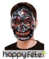 Masque facial de squelette lumineux pour adulte