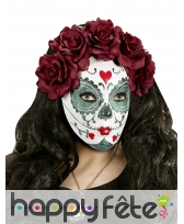Masque facial Dia de los muertos avec roses, femme, image 1
