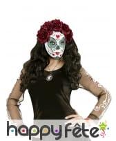 Masque facial Dia de los muertos avec roses, femme, image 2